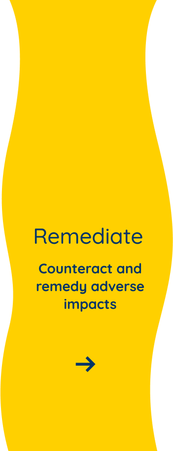 Counteract and remedy adverse impacts